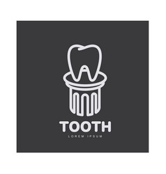 dental care logo template with tooth standing on vector image vector image