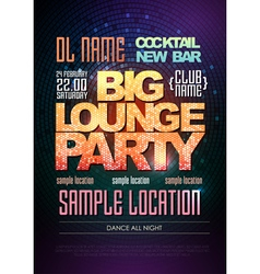 Disco poster big lounge party vector image vector image
