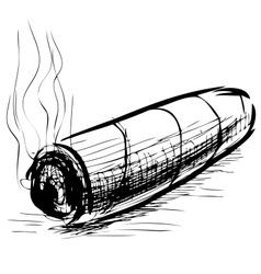 Lighting cigar sketch vector image vector image