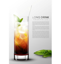 realistic alcohol long drink glass poster vector image vector image