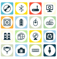set of 16 computer hardware icons includes web vector image vector image