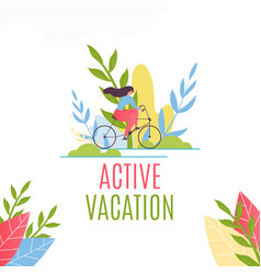 Active vacation and cycling motivate flat banner vector