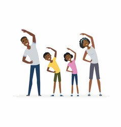 African family doing exercises- cartoon people vector