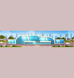 Airport building modern terminal exterior vector