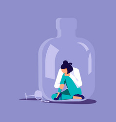 Alcoholic woman in a bottle vector