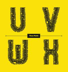 Alphabet celtic golden style in a set uvwx vector