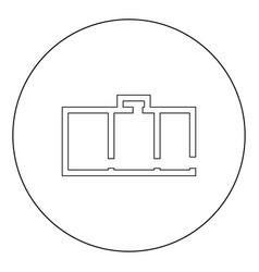 apartment plan black icon in circle isolated vector image