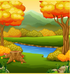 Autumn landscape with rivers and trees vector
