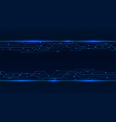banner from blue glowing neon circuit board lines vector image