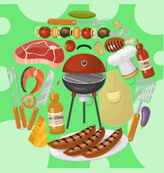 barbeque picnic party poster meat steak roasted on vector image