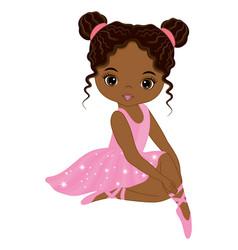 Beautiful african american in pink tutu dress vector