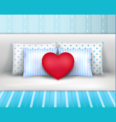 bedlinnen pillows cushions realistic composition vector image