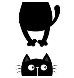 Black cat funny face head silhouette kawaii vector