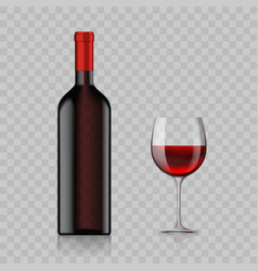 blank bottle with alcoholic drink and wine glass vector image