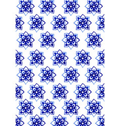 blue flowers traditional thai art pattern vector image