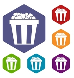 Box of popcorn icons set vector