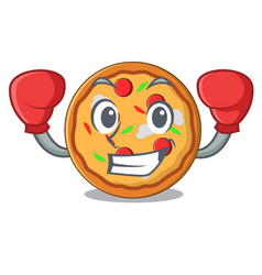 boxing pizza character cartoon style vector image
