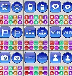 Bus Mobile phone Chat bubble Signpost Chandelier vector