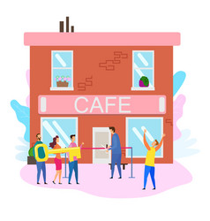 Cafe opening ceremony male owner cut red ribbon vector
