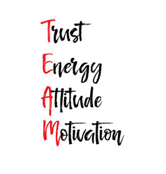 Card with team trust energy attitude motivation vector