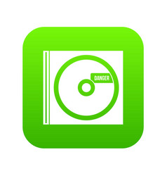 Cd with danger lettering icon digital green vector