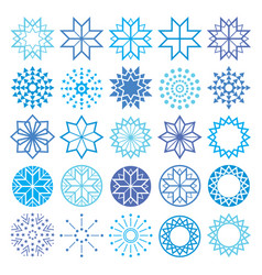christmas winter snowflakes and stars icons vector image
