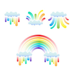 clouds and rainbow set vector image