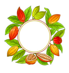 Cocoa branches frame on white background vector