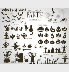 collection a halloween silhouettes vector image