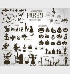 Collection a halloween silhouettes vector