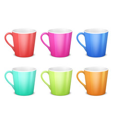 Colorful 3d mugs empty coffee ceramic cup vector