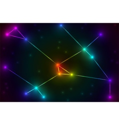 Colorful glow stars connection in space vector image