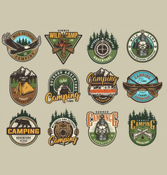 colorful summer adventure labels set vector image