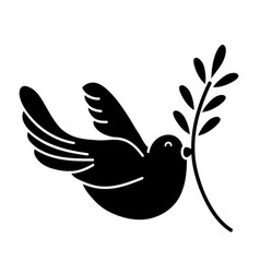 Contour cute dove animal with branch to peace vector