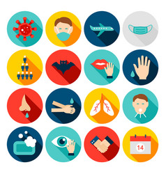 Coronavirus prevention flat icons vector