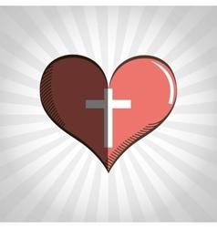 Cross inside heart design vector