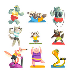 cute animals wearing uniform doing exercises using vector image