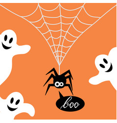 Cute spider on a web and ghost vector