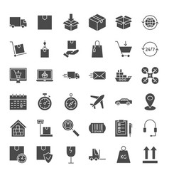 Delivery solid web icons vector