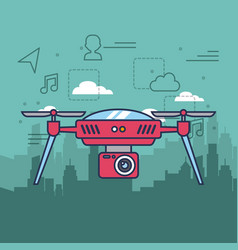 Drone on city background with camera mechanism vector