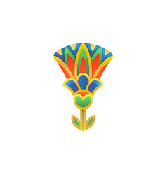 Egyptian lotus flower in traditional style flat vector