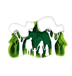 family walking in eco green city park vector image
