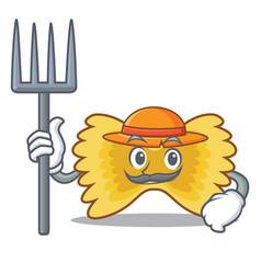 Farmer farfalle pasta character cartoon vector