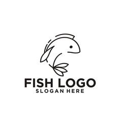 Fish monoline logo vector