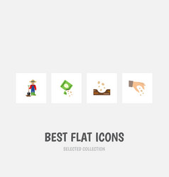 Flat icon seed set of man seed sow and other vector