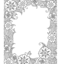 Floral hand drawn vertical frame in zentangle vector