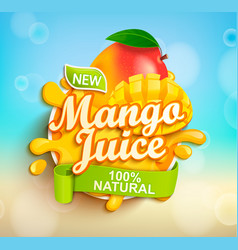 Fresh and natural mango juice vector