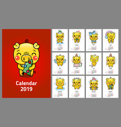 funny calendar with yellow pigs in 2019 vector image