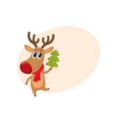 Funny reindeer in red scarf holding a Christmas vector
