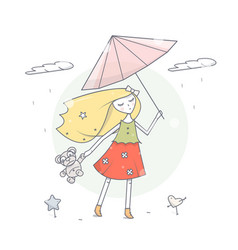 girl with umbrella under the rain vector image